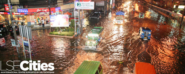 Flooded portion of JP Laurel Avenue at Bajada area in downtown Davao City on Thursday night, June 12, 2008. Residents in the area blame the clogged drainage system caused the flooding in the area during heavy rains. Keith Bacongco / AKP Images